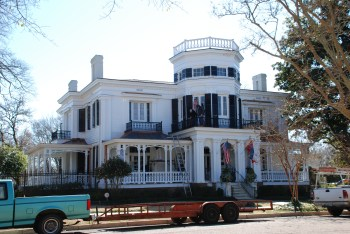 The painters and roofers were out sprucing up White Arches (1857), one of the most distinctive Italianate houses in the state. This house will be on the Pilgrimage this year--don't miss it!