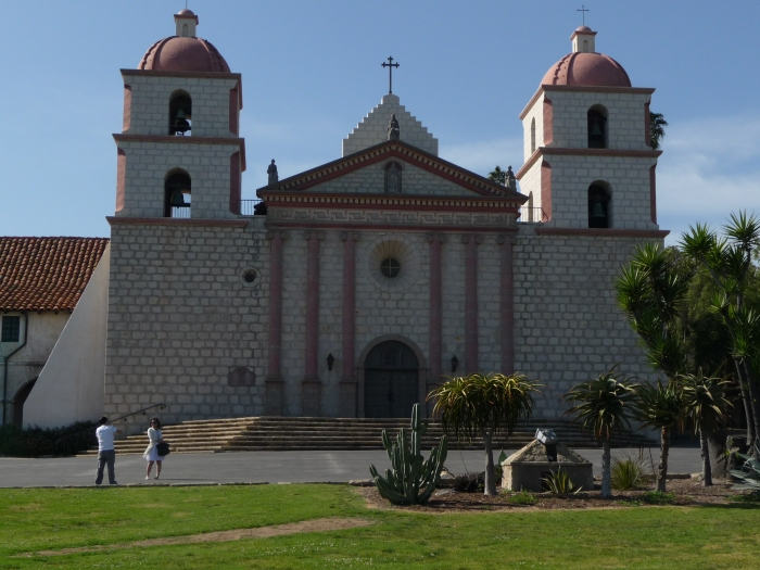 "Mission Santa Barbara, ""Queen of the Missions"" (rebuilt 1812-1820, after an earthquake destroyed the original)"