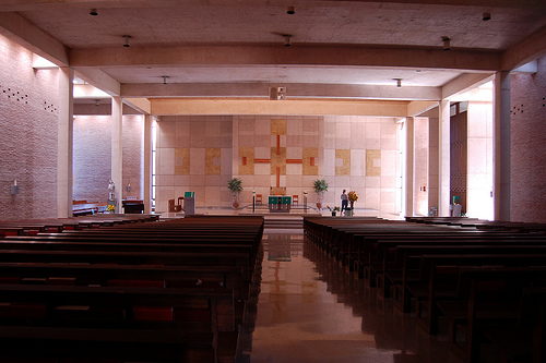 St. Richard's Catholic Church, sanctuary. Do the sides appear to be billowing out like a tent to you?