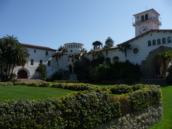 "Santa Barbara County Courthouse (1929), designated a National Historic Landmark as ""a masterpiece of Spanish-Moorish style."""