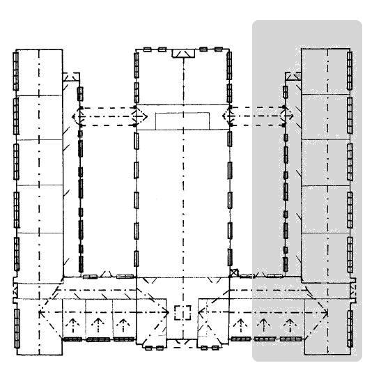 Stewart M. Jones floorplan--the shaded area on the right seems to be the area that was most heavily damaged in the fire.