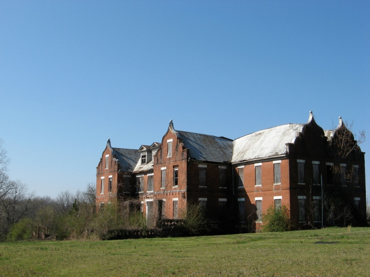 Cathrine Hall, Mississippi Industrial College (photo by joseph a) (1905-2012). The subject of several posts here on MissPres, the oldest building on the MIC campus in Holly Springs, now owned by Rust College, was finally demolished in 2012 after years of neglect and a recent roof collapse.