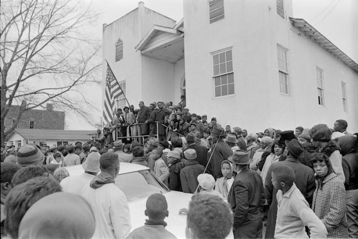 Demonstration on morning of Vernon Dahmer's funeral, January 15, 1966, Hattiesburg (Miss.). March commenced and ended at St. James Christian Methodist Episcopal Church on corner of East 7th and Atlanta streets.