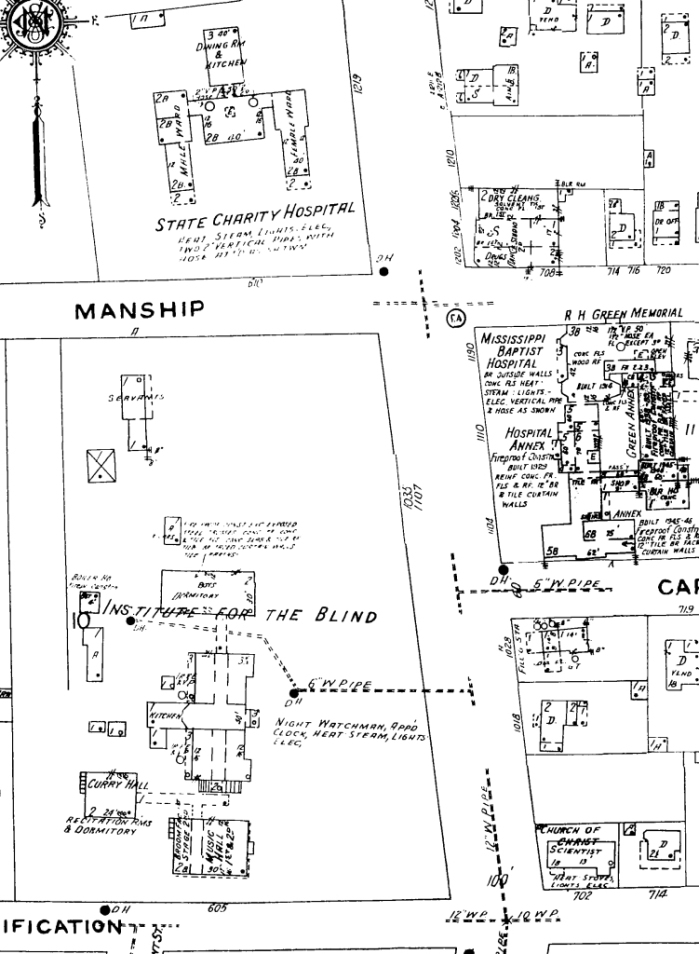 1946 Sanborn map for Jackson, showing the Blind Institute along with its proximity to the Baptist Hospital and State Charity Hospital