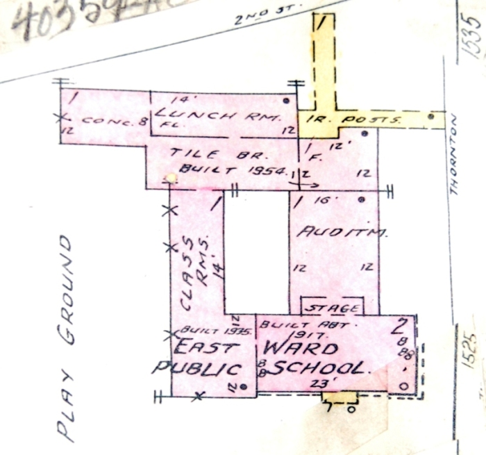 1961 Sanborn map of East Ward School, showing original and later additions