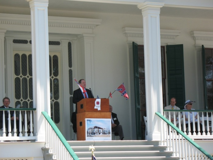 Larry Albert, architect for the restoration, speaks at the re-opening, June 3, 2008.