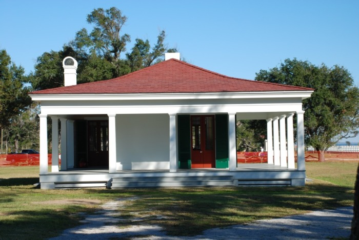 "Library pavilion at Beauvoir, re-construction of the library where Jefferson Davis wrote his 2-volume ""Rise and Fall of the Confederate Government"""