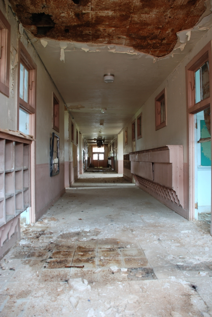 Administration Building, Benton School, main hallway--beautiful space that's still salvageable