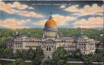 """This undated postcard was published by City News Co., Jackson, Miss. Its text reads """"Erected in 1901-1903 and one of the most beautiful of the various state capitols. The site was formerly that of the state penitentiary."""