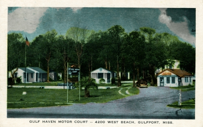 From Gulf Haven Motor Court - 4200 West Beach, Gulfport, Miss. Sysid 90441. Scanned as TIFF in 2007/08/20 by MDAH. Credit: Courtesy of the Mississippi Department of Archives and History.