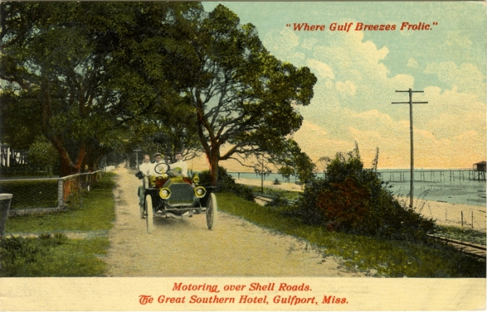 From Motoring over shell roads. The Great Southern Hotel, Gulfport, Miss. Where gulf breezes frolic.  Sysid 92752.  Scanned as tiff in 2007/12/28 by MDAH.  Credit:  Courtesy of the Mississippi Department of Archives and History