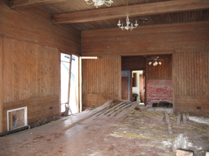 Charnley House interior, showing foundation pier sticking up through floor, Mar 2006