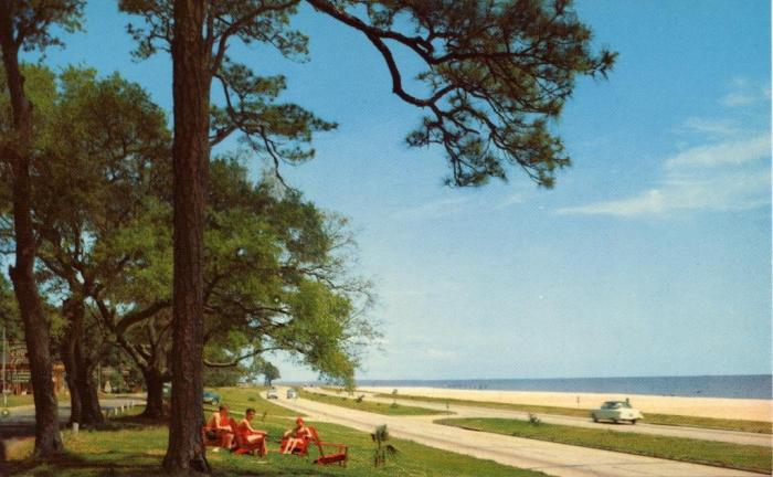 Mississippi Gulf Coast . . . U.S. Highway 90 overlooking the Gulf of Mexico. A Deep South Card