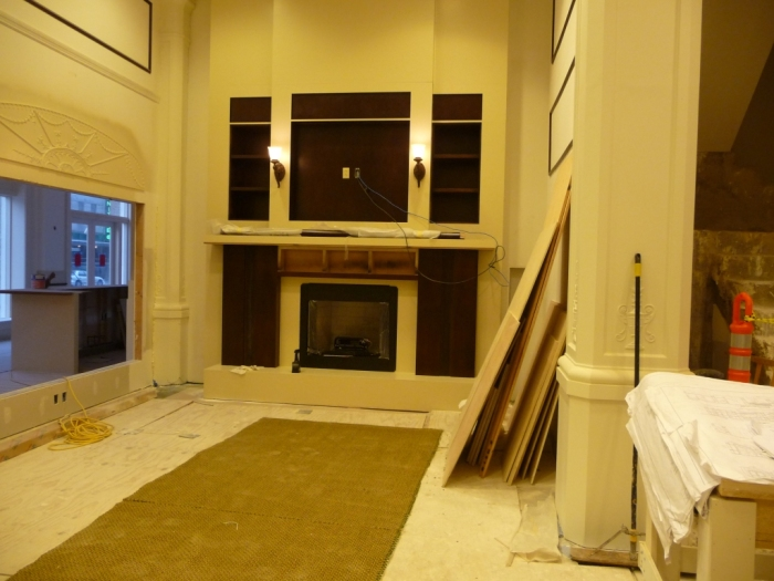 main entrance lobby, fireplace. If memory serves, this was an open area leading to a cafe or something else in the eastern annex.