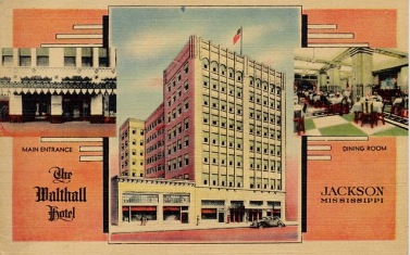 A post card view of the Walthall from the 1940s