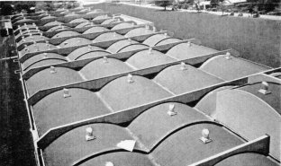 The roof of the main factory building is a series of concrete barrel shells 3 1/2 in. thick. Each spans 40 ft. with diaphragm stiffeners at 50-ft. intervals longitudinally.