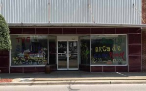 downtown Richton, modern storefront with colored panels
