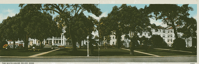 Early panoramic post card view of the White House Hotel in Biloxi