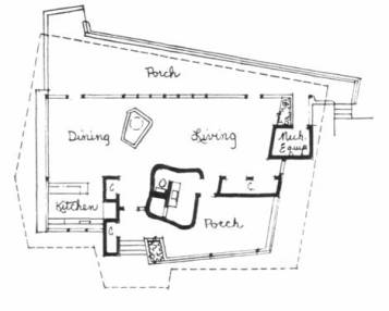 Floor Plan, New Orleans Weekend Residence of Dr. and Mrs. Morris Shushan. Curtis & Davis, Architects