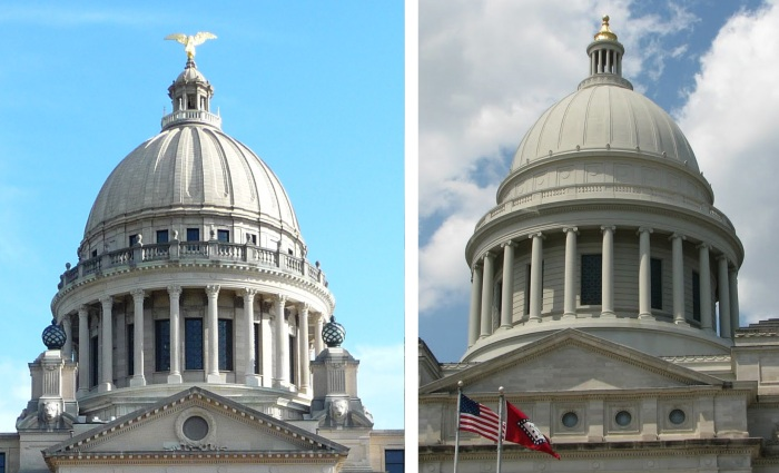 Mississippi State Capitol Dome (left), 1900-1903; Arkansas State Capitol Dome (right), 1900-1916