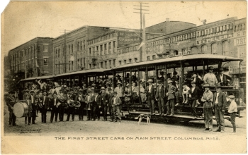 COLUMBUS. Three open air streetcars along with a brass band, a dog and many local dignitaries including Mayor J.T. Gunter, Percy Maer, B.A. Weaverm J.W. Steen, J.L. Walker, Judge L. Marx and Mr. Heard posed on the first day of trolley operations. Courtesy Cooper Postcard Collection, Mississippi Dept. of Archives and History.