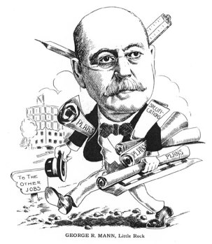 Caricature of George R. Mann, hired in 1899 to design Arkansas's new capitol building; 1908 From Men of Affairs, courtesy of the Arkansas History Commission