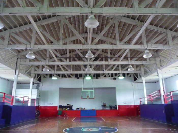 Baxterville School Gymnasium, Baxterville community, Lamar County (1949), possibly built with re-used materials from an aircraft hangar at nearby Camp Shelby.