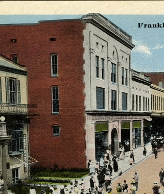 Detail from postcard of Franklin St., Natchez, Miss. City Bank and Trust Building. Sysid 92937. Scanned as tiff in 2008/07/22 by MDAH. Credit: Courtesy of the Mississippi Department of Archives and History