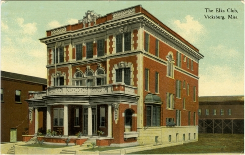 The Elks Club, Vicksburg, Miss. Built 1908 Sysid 93798. Scanned as tiff in 2008/11/18 by MDAH. Credit: Courtesy of the Mississippi Department of Archives and History