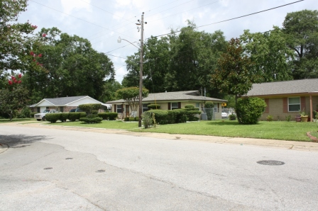 Street Scape, Intersection of Holly Circle and Tulip Court, Forest Heights Subdivision. Gulfport Miss. Image made by author 7-22-2012