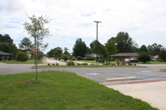 Street scape, Russell Boulevard and Holly Circle, Forest Heights Subdivision. Gulfport Miss. Image made by author 7-22-2012