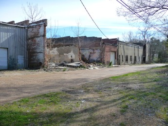 The south end of Main Street is in especially decrepit condition as evidenced by the backs of these commercial buildings.