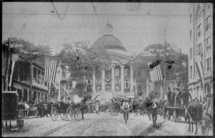 """This image of the Old Capitol dressed up for its """"Exposition"""" in the early 1900s appeared on the Old Capitol Museum Facebook page."""