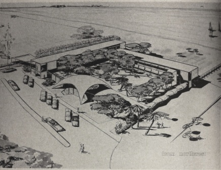 Proposed Buena Vista Motel Addition Concept showing the Hyperbolic Paraboloid Refreshment & Relaxation Area. Biloxi, MS. Rendering by Biggs, Weir & Chandler from the March-April 1956 Down South Magazine.