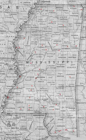 Map of Mississippi highlighting location of structures featured on MissPreservation.com's Architectural Word of the Week