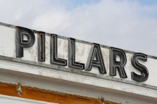 """PILLARS"" channel-set neon letters, White Pillars Restaurant, Biloxi MS Nov. 2012"