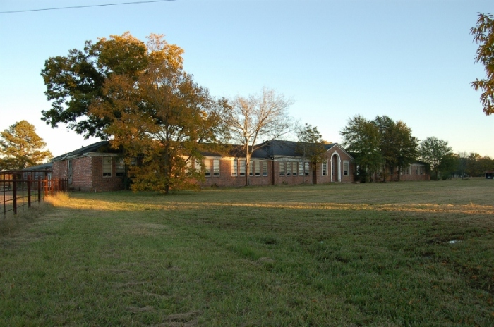 Bentonia Consolidated School, Yazoo County. Travelers on Highway 49 have been watching this building collapse in on itself until finally demolished in March 2012. This is how the building looked in 2006, courtesy of MDAH, but soon after the center section's roof began to sag after a storm and then it was a quick decline.