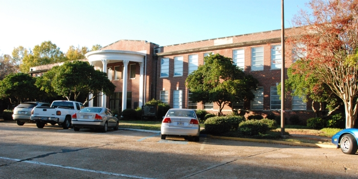 Jenkins Administration Building and Harris Patrick Academic Building (1951, Spain & Biggers, archts.), Hinds Community College. Designated Mississippi Landmarks July 27, 2012.