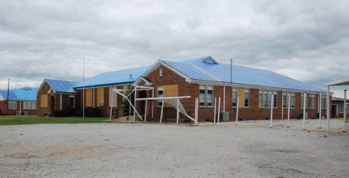Smithville School, Monroe County (1936, R.W. Naef, archt.) Damaged in the tornado of April 2011, the school was finally torn down in 2012 after the Mississippi Department of Archives and History declined to designate it a Mississippi Landmark.