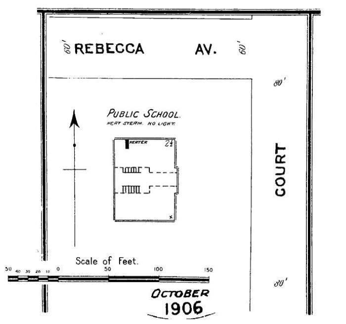 Both school building has identical floor plans when built.  Court Street School Hattiesburg, Forrest County. Sanborn FireInsurance Map, October 1906