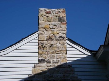 Figure 1. Catahoula sandstone chimney of the Porter House built around 1830 and moved to Raymond, Mississippi in 2004. Picture (digital) taken on September 20, 2007.