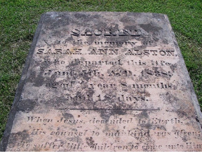 Figure 7. Catahoula sandstone slab marking the grave of Sarah Ann Alston, who died on June 5, 1838, at the age of one year, 8 months, and 18 days. Picture (digital) taken on September 18, 2007.