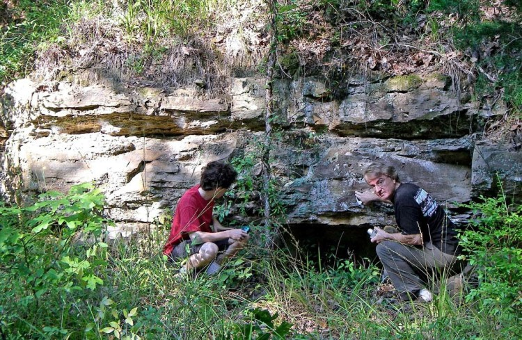Figure 8. Cavett Taff (right) and his son Philip examining a Catahoula sandstone ledge at the old state stone quarry at Mississippi Springs east of Raymond, Mississippi. Picture (digital) taken on September 20, 2007.
