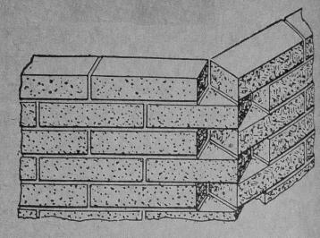 Outside obtuse angle corner with standard brick(Pigeonhole Corner) Illustration.  Figure 4,240, Page 1,784-238. Audels Masons and Builders Guide No. 1 1963 printing.  Scanned from Authors copy.