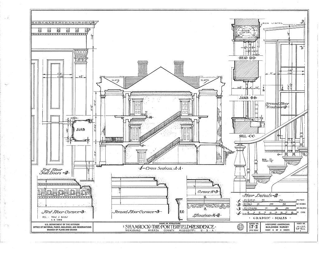 Deupree s historic homes porterfield vicksburg for House plans in mississippi