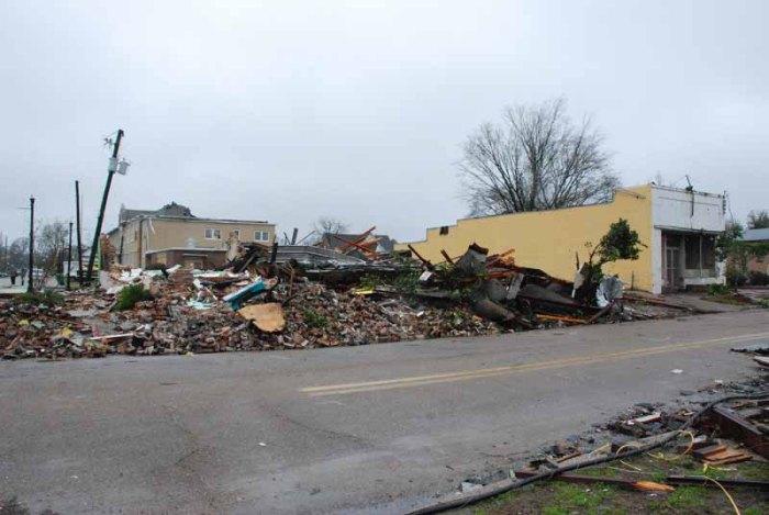 Mobile Street commercial buildings, Hattiesburg. Destroyed by Feburary tornado, 2013.