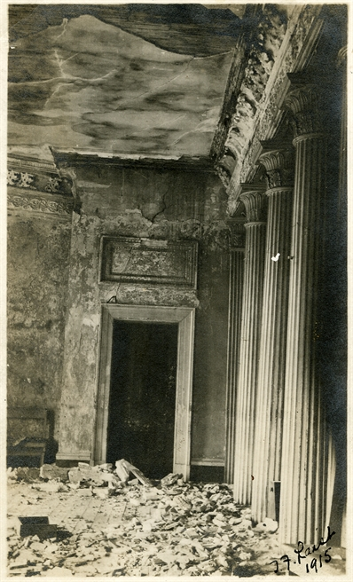 J.F. Laist, 1915. nterior of Old Capitol Building, photo shows dilapidated condition, pieces of broken plaster on floor, broken door and windows, vines growing on walls, Corinthian columns, railings. MDAH Accession PI/STR/C36 /Box 20 Folder 95