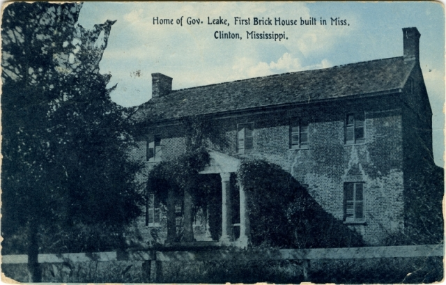 Courtesy Cooper Postcard Collection, MDAH. I believe that the house was the first brick house in Hinds County, not the entire state.