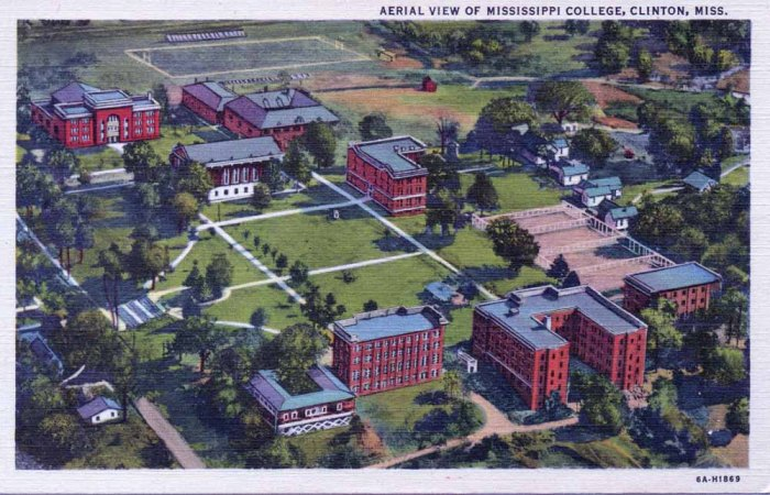 """MISSISSIPPI COLLEGE - Founded 1826. Offers work leading to Bachelor of Arts degree in twelve major departments: Biology, Chemistry, Christianity, Commercial Science, Education, Psychology, Philosophy, English, Ancient and Modern Languages, Mathematics, Physics, Social Science, and Physical Education. All work fully accredited. """"C.T. Art - Colortone"""" Made Only By Curt Teich & Co."""