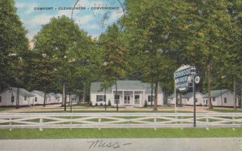 HOMEWOOD MANOR TOURIST COURT, 1 1/2 Miles N. City Limits--Highway 51, Jackson, Mississippi. Midway Between Memphis and New Orleans. Among the South's Finest. Tourist Accommodations At Reasonable Rates. Postmarked 1946.